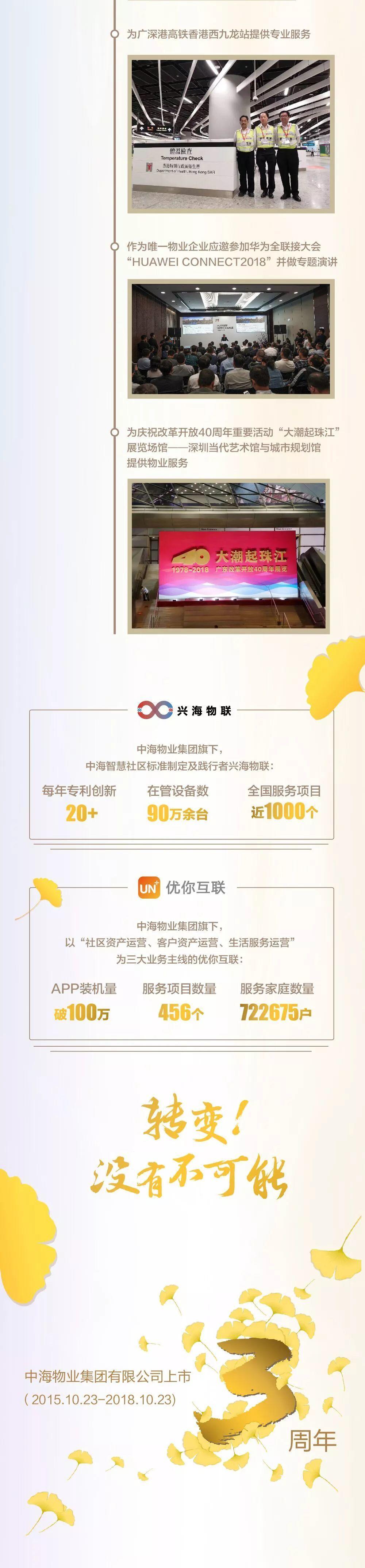 中海物业上市3周年成绩单